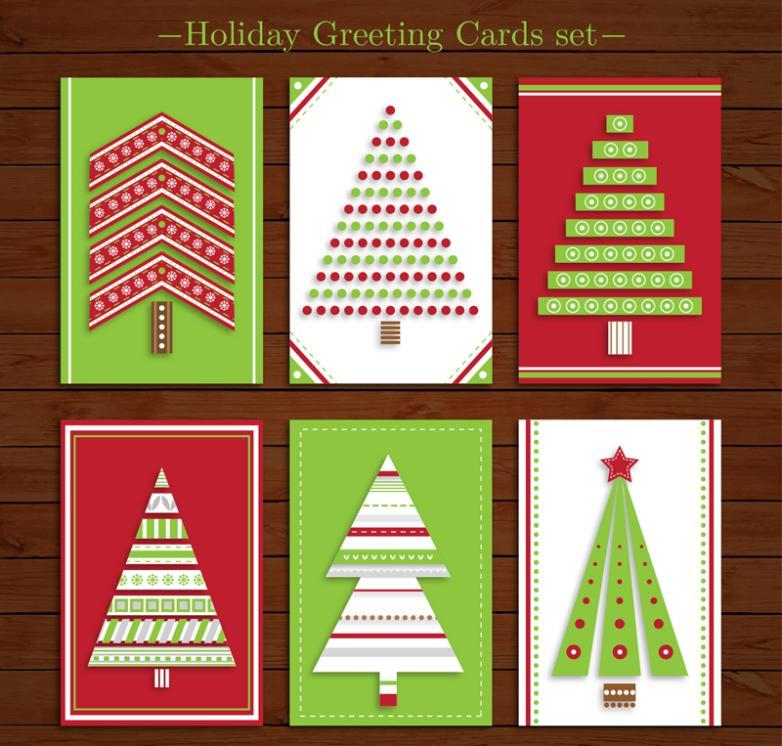 6 Novelty Christmas Cards Vector