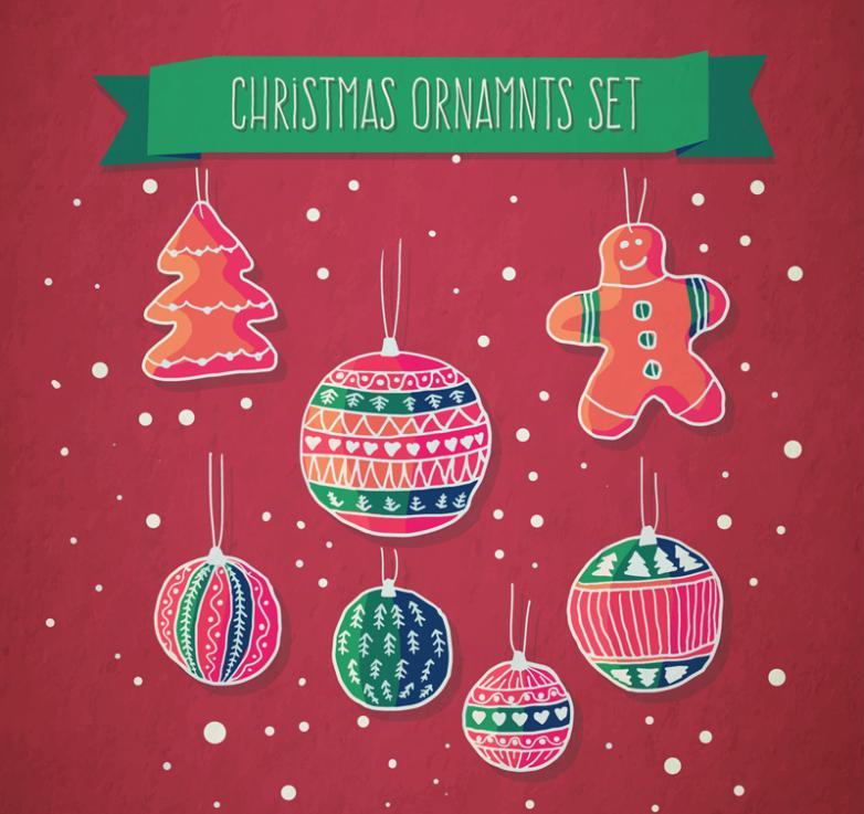 Seven New Lovely Christmas Pendant Vector