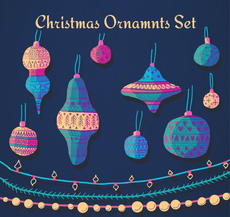12 Christmas Decorations Vector