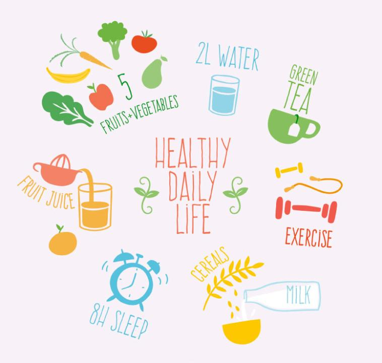 Healthy Living Illustrations Coloured Drawing Or Pattern Vector