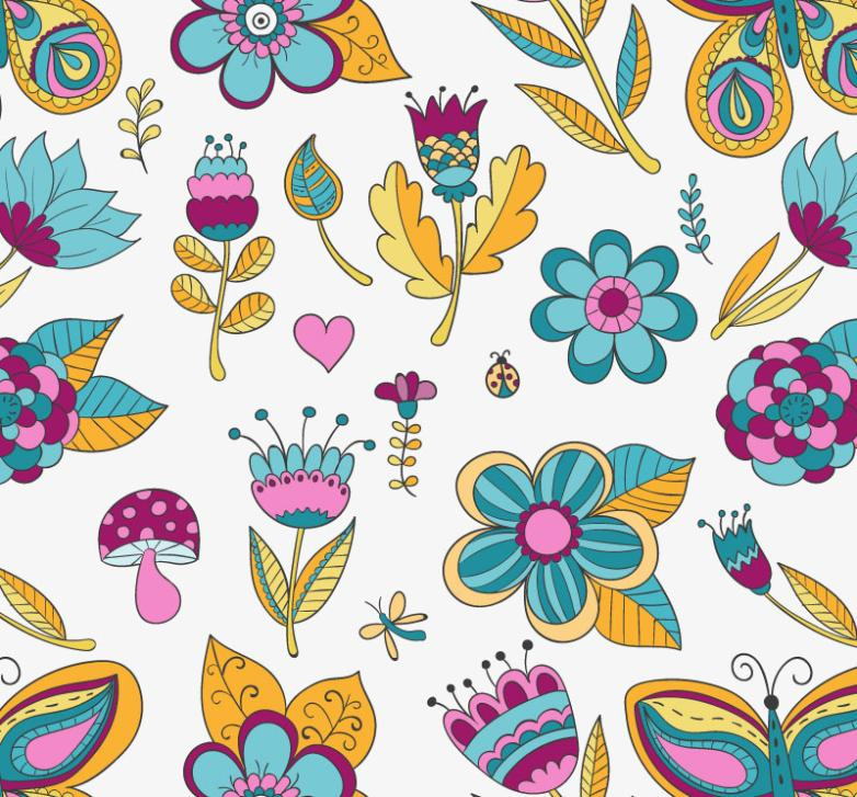 Cartoon Seamless Background Abstract Flowers Vector