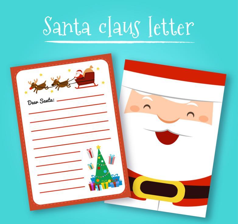 Cartoon Santa Claus Writing Paper Vector