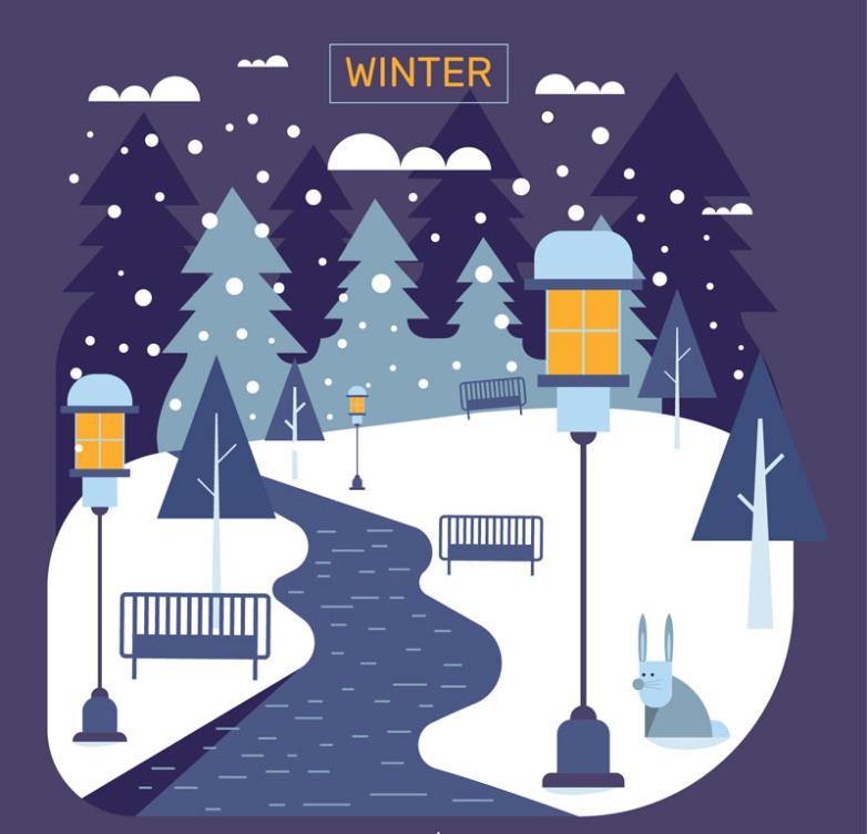 Winter Street Scenery Vector