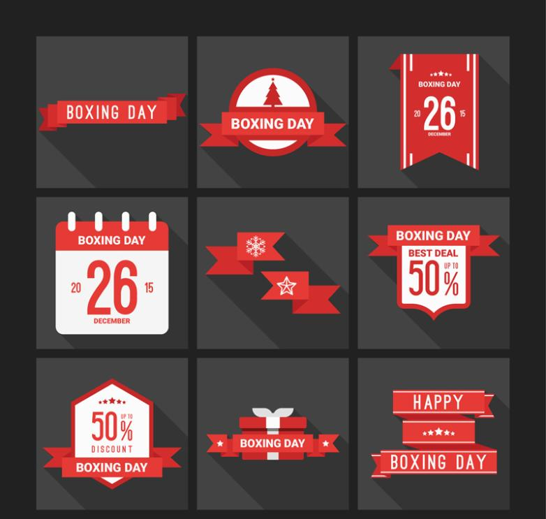 9 Discount Label Red Boxing Day Vector