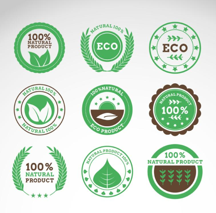 Nine Pure Natural Green Product Label Vector