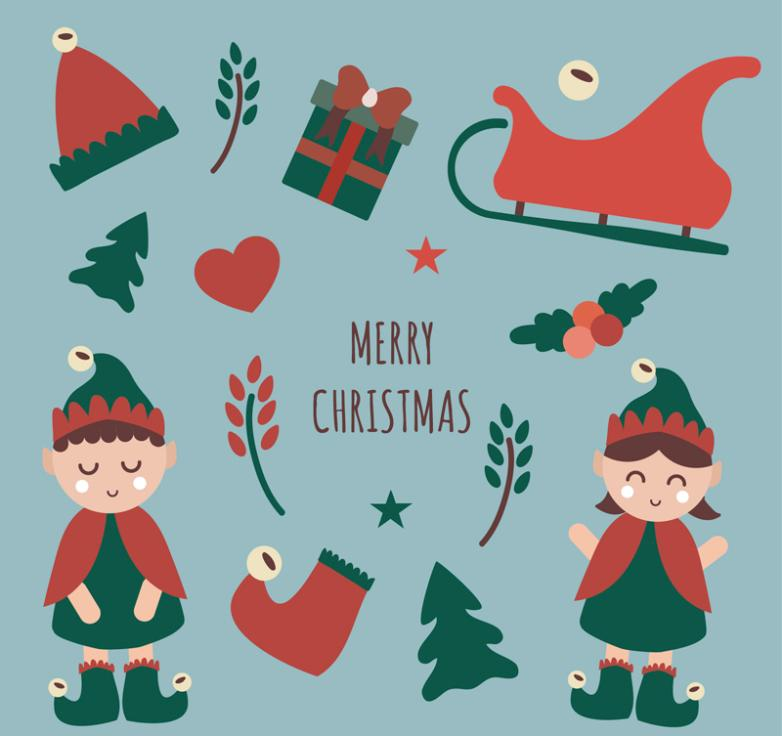 13 Lovely Christmas Elements Vector