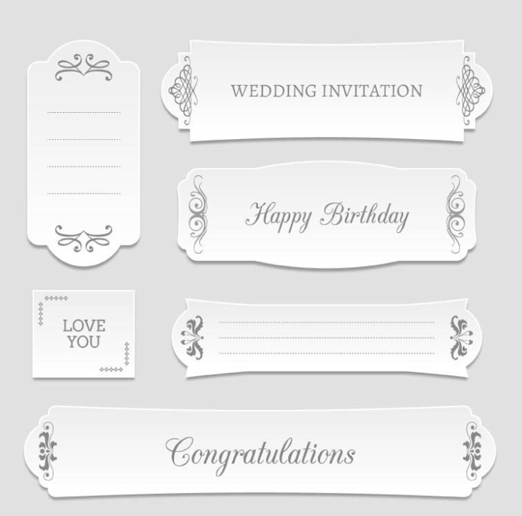 Six White Banner Vector