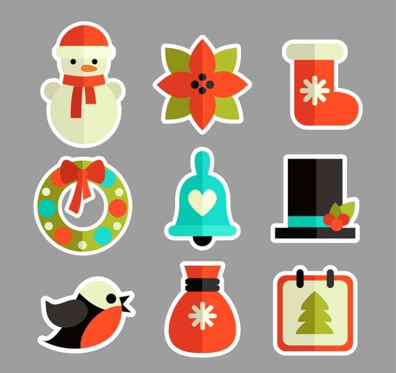 Nine New Lovely Christmas Stickers Vector