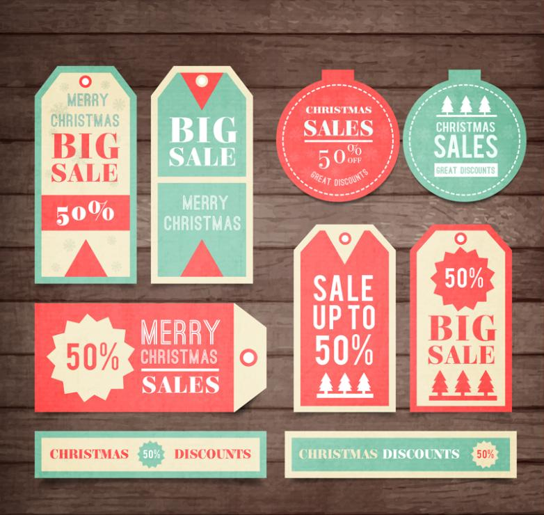 9 Fresh Christmas Promotion Tags Vector