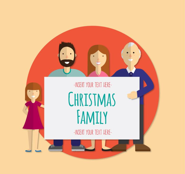 Family Christmas Cards Vector