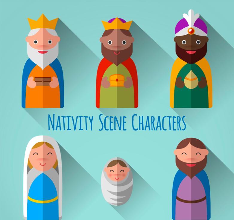Six Role Creative Christ Was Born Vector