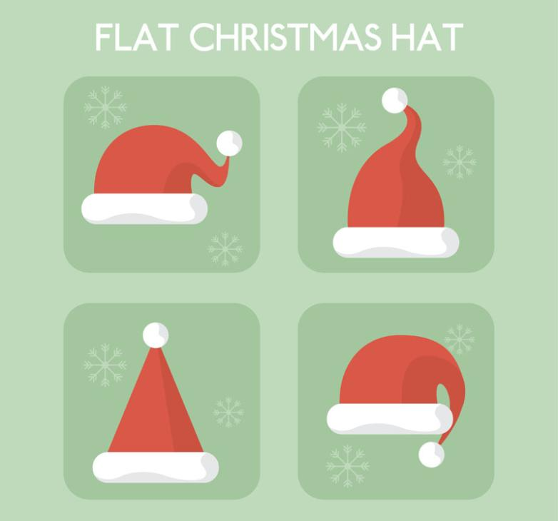 4 Red Christmas Hat Vector