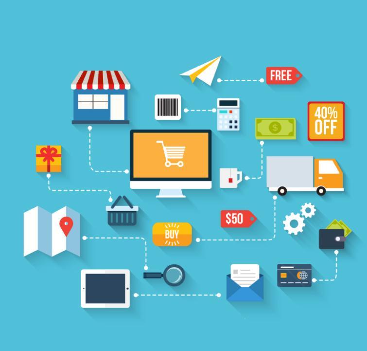 Elegant Electronic Commerce Elements Vector
