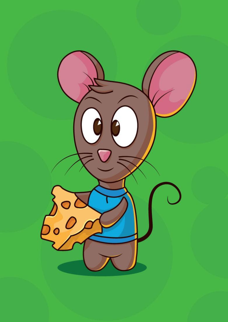 Cartoon Mice Eat Cheese Vector