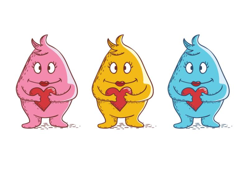 Three Color Love Monster Vector