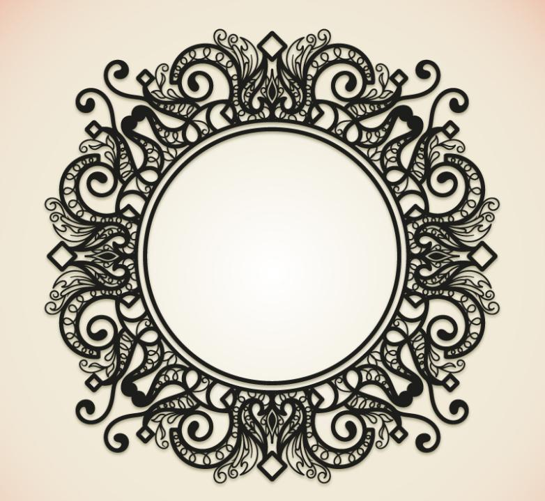 Elegant Black Circle Pattern Frame Vector