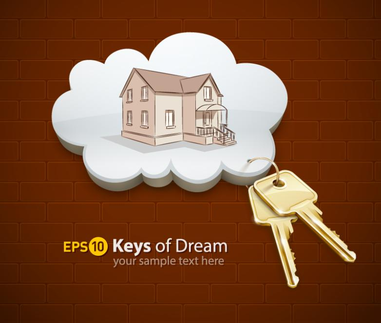 Creative Houses And Keys Vector