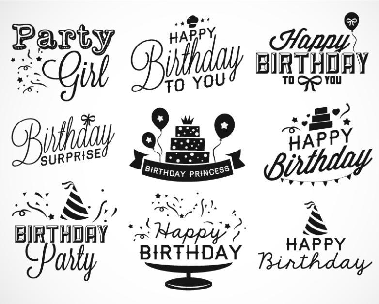 Happy Birthday 9 Black Art Vector