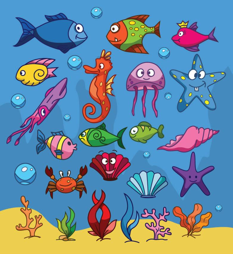 22 Cartoon Sea Creatures Designs Vector