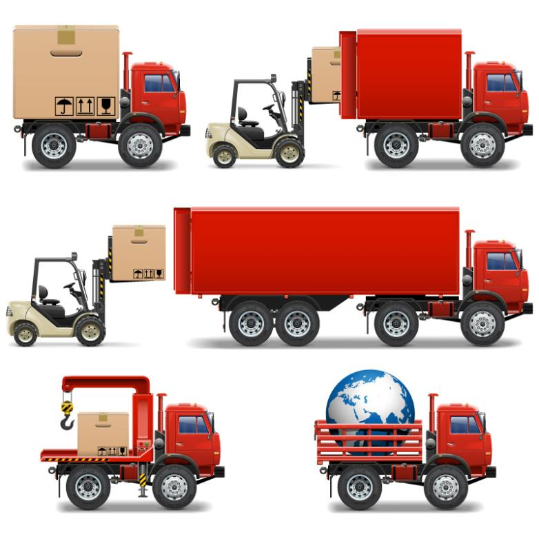 Seven New Red Forklift Truck And Truck Design Vector