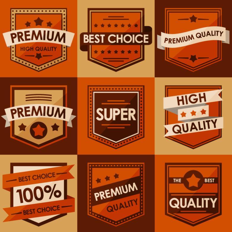 Nine New Retro Orange Promotional Label Vector
