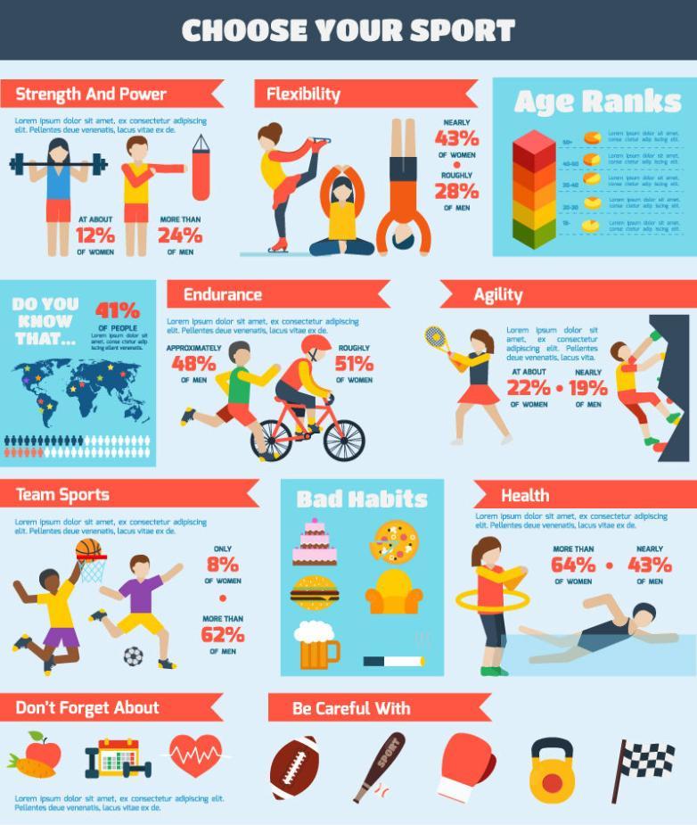 Cartoon Sports Fitness Information Graph Vector