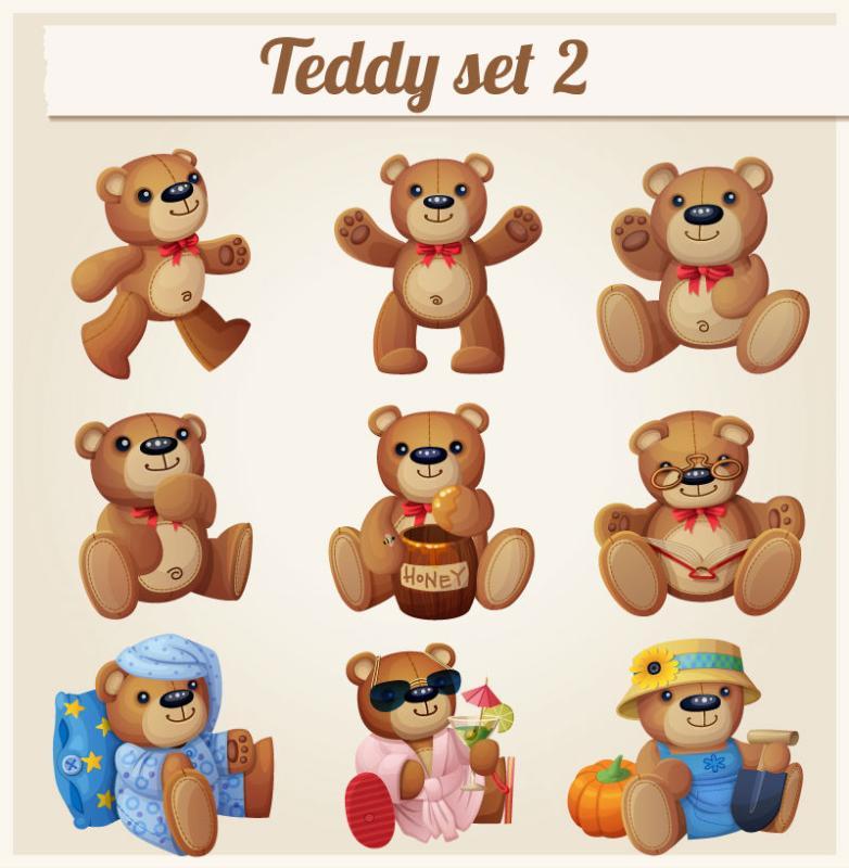 9 The Cartoon Teddy Bear Toy Vector