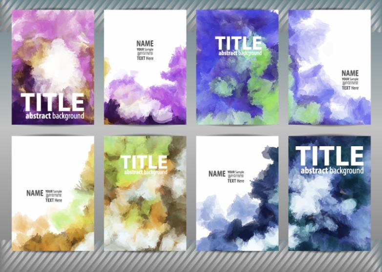 Eight Creative Watercolor Ink Card Vector