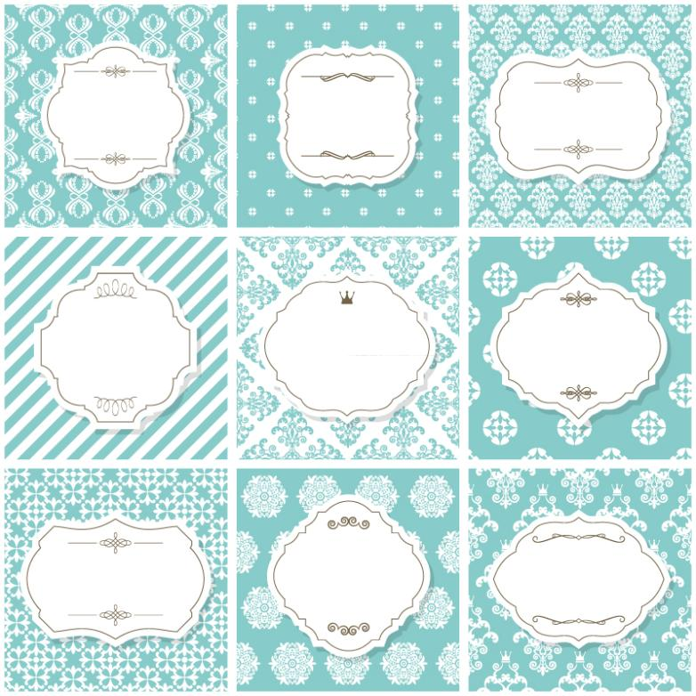 Nine New Fresh Blank Label Pattern Background Vector
