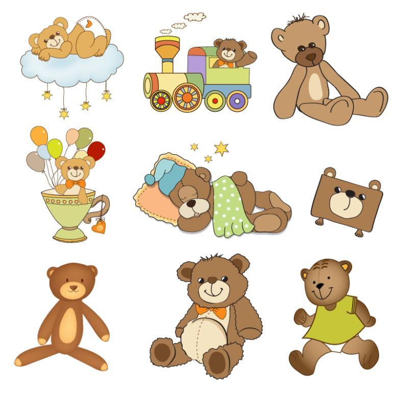 9 Cartoon Teddy Bear Doll Vector