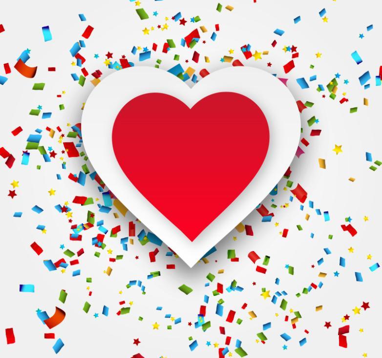 Love And Creative Paper Color Confetti Vector