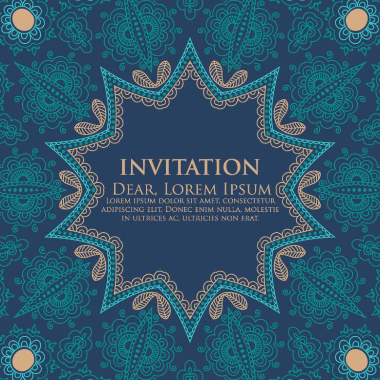 Creative Blue Pattern Invitation Cards Vector
