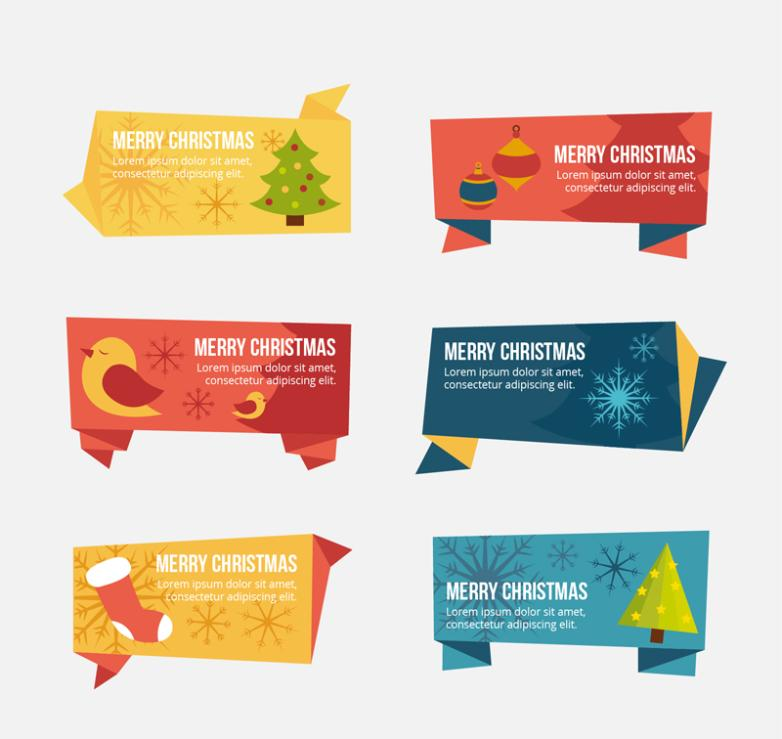 Six Origami Christmas Tags Vector