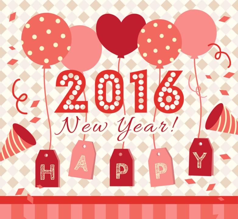 2016 New Year Greeting Card Vector