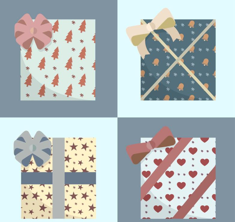 4 Kind Of Simple But Elegant Holiday Gift Box Vector
