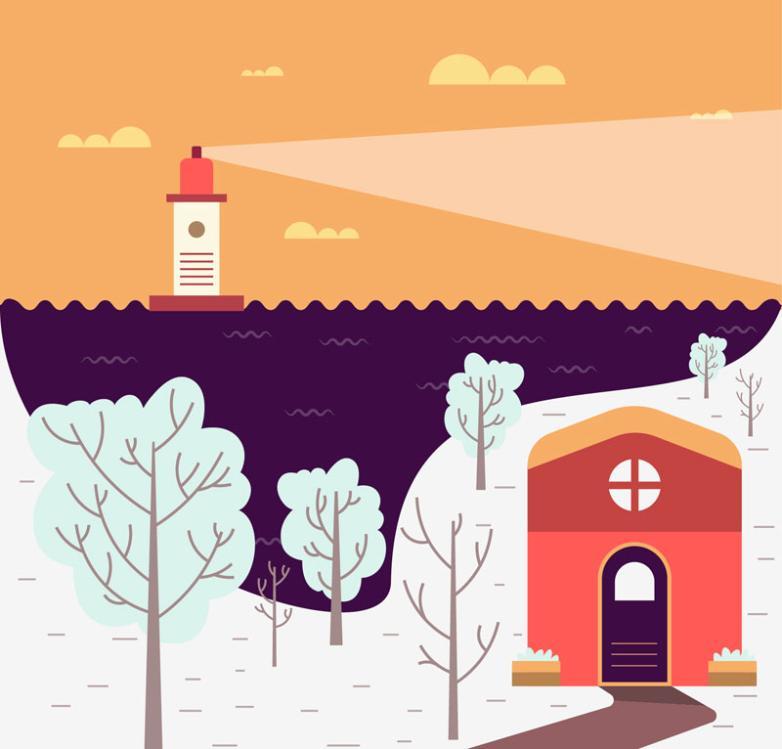 Cartoon Winter Harbour View Vector