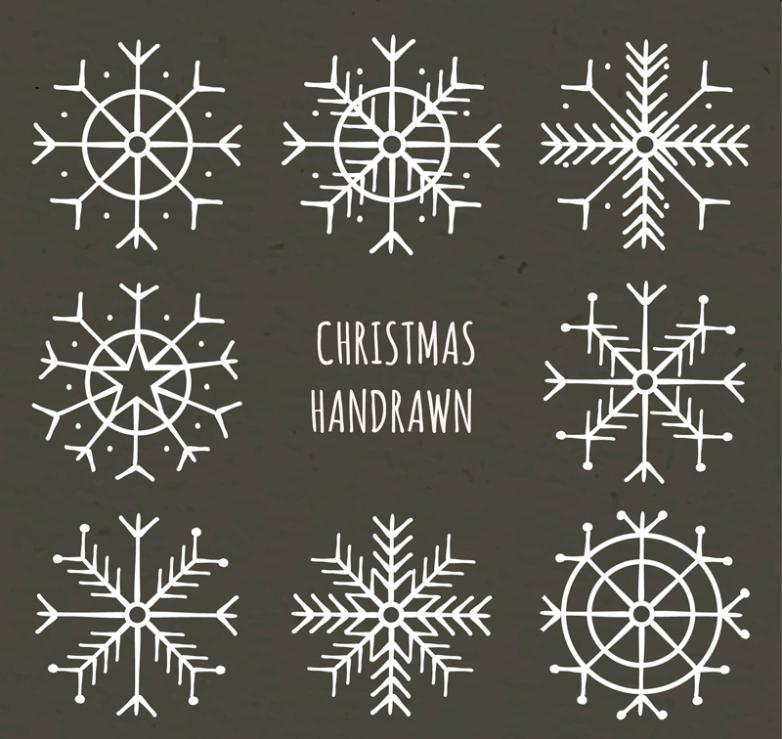 Eight Christmas Snowflake Design Vector