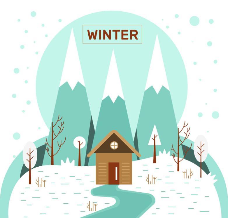 Cartoon Winter Cabin Scenery Vector