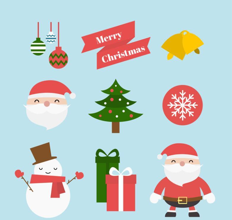Nine New Colored Christmas Icon Vector