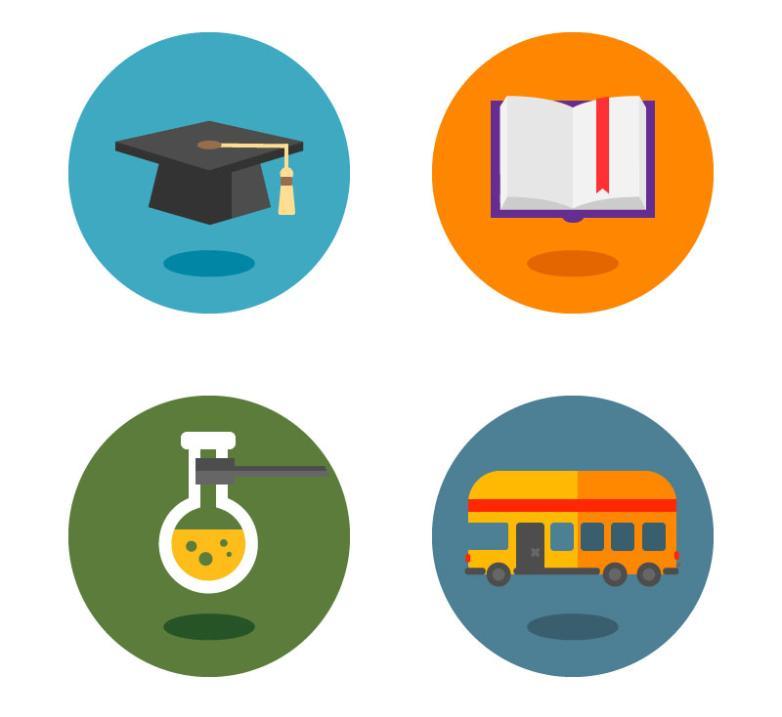 4 Cartoon Campus Icon Vector