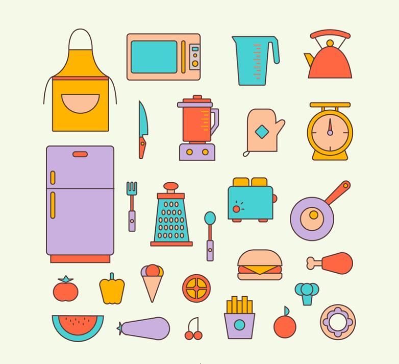 27 Color Kitchen Supplies Vector
