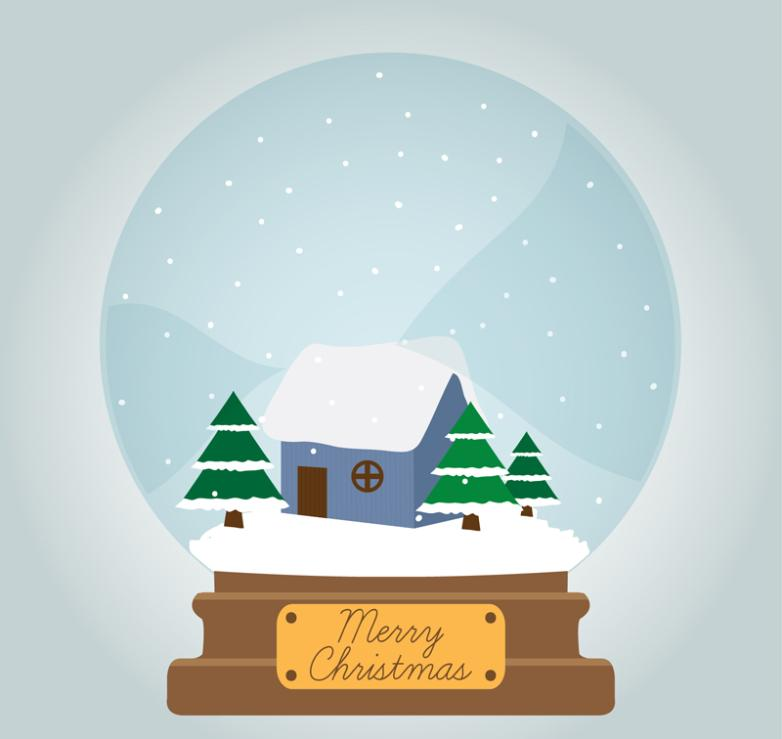 Cartoon Santa Hut Snow Globe Vector