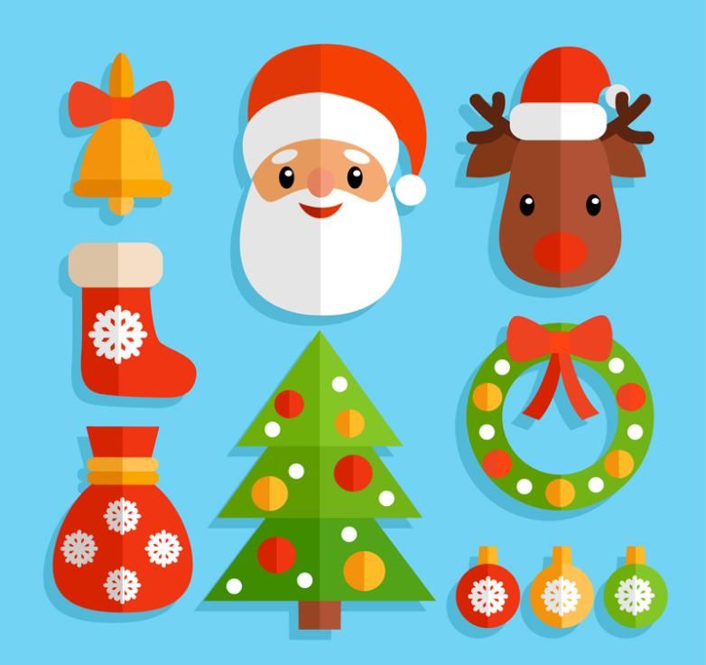 10 Lovely Christmas Stickers Vector