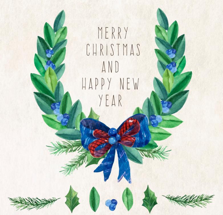 Watercolor Christmas Wreath Greeting Card Vector
