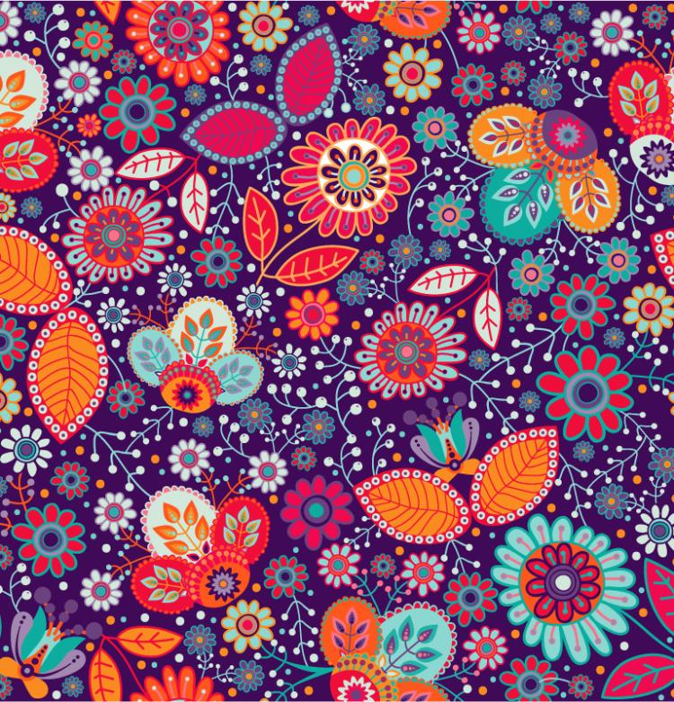 Gorgeous Flowers Seamless Background Vector