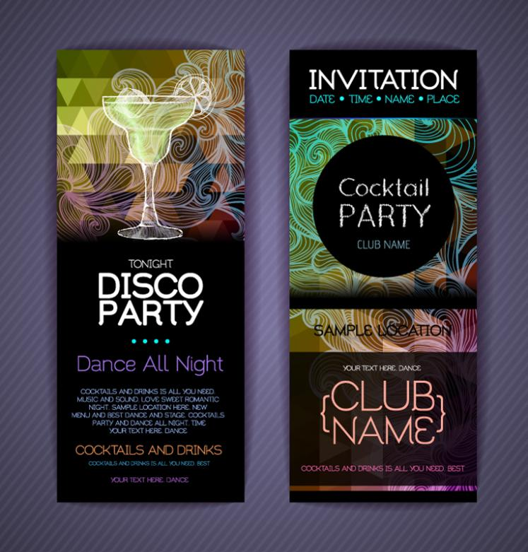 2 Fashion Party Invitation Card Vector Free Vector Graphic