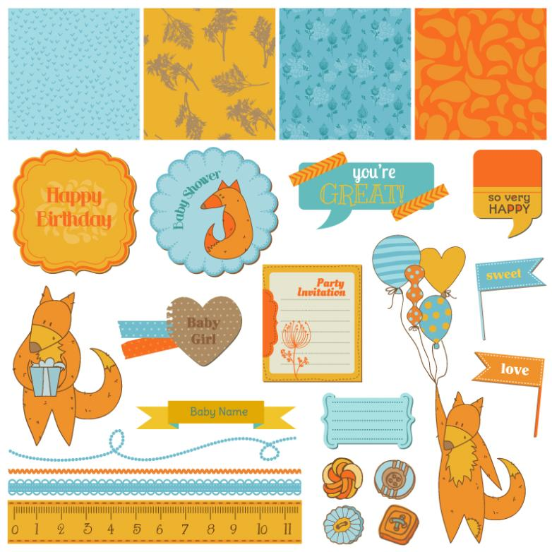 24 Cartoon Baby Shower Elements Vector