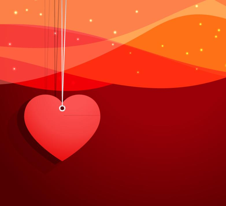 Red Heart Pendant Background Vector