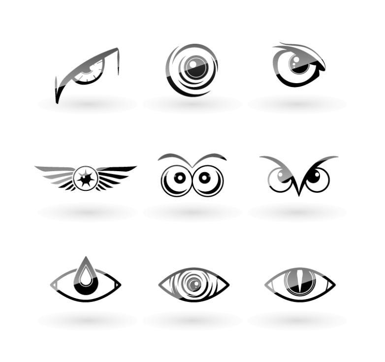 9 Black Owl Eyes Design Vector