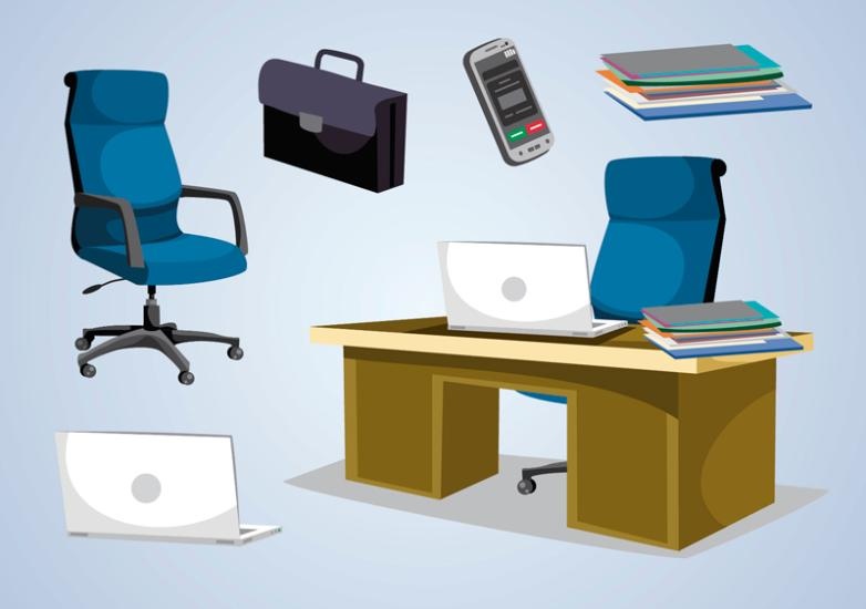 Six Office Furniture Design And Items Vector
